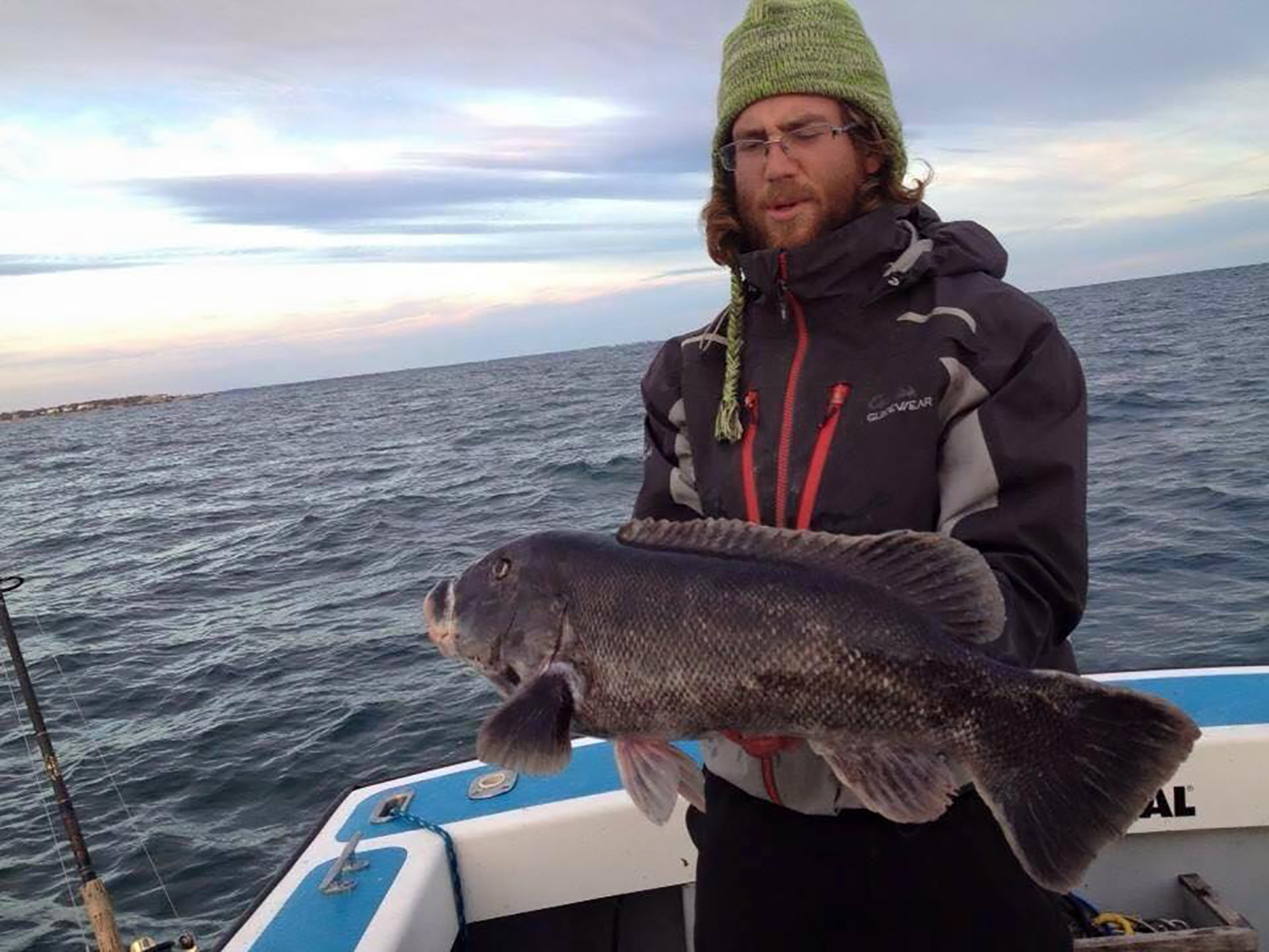 Captain Rob Taylor with a whipper of a tautog