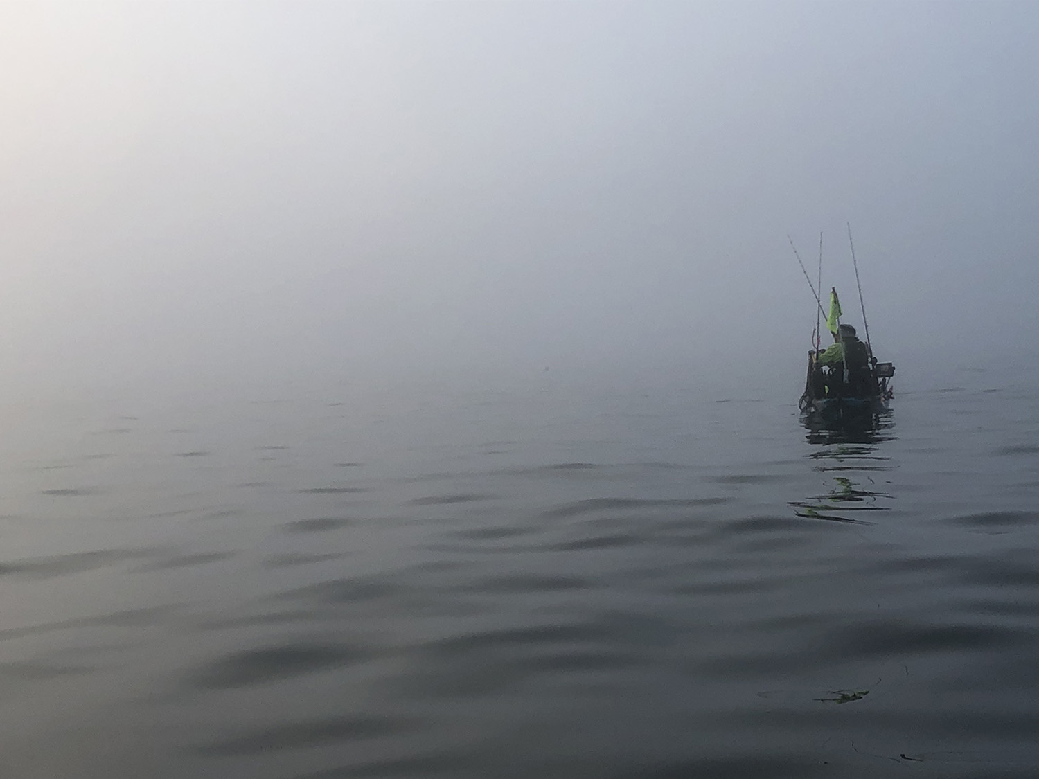 Clearly, navigating a kayak in fog is easy