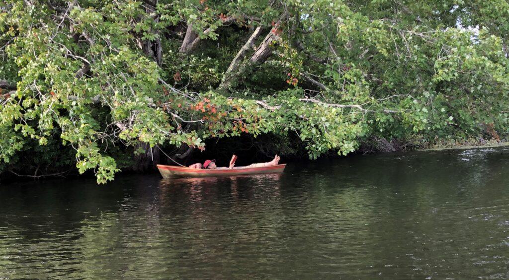 A kayak relaxing in Rhode Island